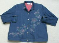 Blue Jacket Coat Floral Woman's 16 Sixteen Button Front Solid Alfred Dunner JKT7