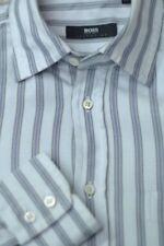 Hugo Boss Selection Men's Gray Dobby Stripe Cotton Dress Shirt 15.5 x 33