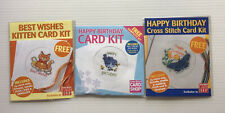 3 Cross Stitch Card Kits - Birthday -  inc Aida, Thread, Card, Needle & Chart