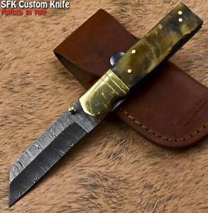 SFK Unique Handmade Damascus Steel Ram's Horn Hunting Folding Knife Liner Lock