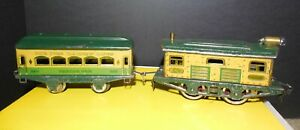 Ives Prewar 3258 Yankee Clipper Tin Locomotive w Parlor Car O Gauge