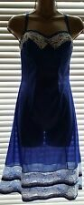DELICIOUS VINTAGE 60's ROYAL BLUE NYLON WHITE LACE FULL SLIP TAILORED BUST 34""