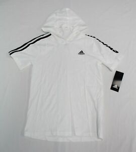Adidas Boy's Short Sleeve Hooded Pullover KB8 White Size 7 NWT