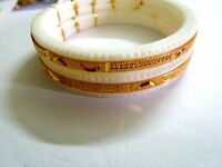 Indian Jewelry White chanka Bracelet Gold Plated Bridal kada Bangles 2.6/2Pcs