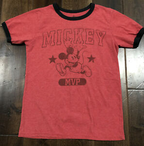 Disney Parks Unisex Kids T-Shirt Red Mickey Mouse MVP Size S (5/6) Tee