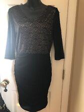 Andrew Marc New York Body Cone Stretch Lace Black Dress Sz 6 $148