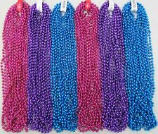 Mardi Gras Beads Hot Pink Purple Light Blue 6 Dozen Parade Party 72 Necklaces