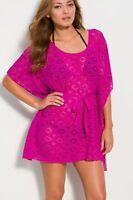 Becca Crochet Cover Up Tunic Top Dress M /L  (Raspberry)