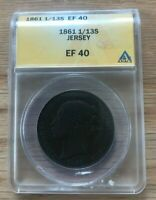 1861 Jersey 1/13 Shilling - Certified ANACS XF40 EF40
