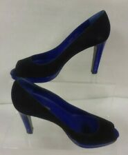 LADIES SERGIO ROSSI SUEDE PEEP TOE SHOES BLACK/BLUE SIZE 4 - VERY SLIGHT WEAR-TR