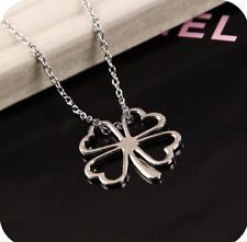 New 4-Leaf Clover Irish Luck Charm Stainless Steel Silver Pendant & Necklace CL3
