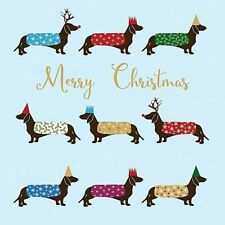 Dachshund Luxury Foil Art Charity Christmas Cards 5 Pack Sausage Dog Lovers