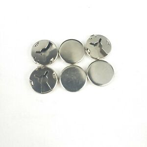 6 VINTAGE BUTTON COVERS ROUND 18mm. LOCKING SILVER PLATED BRASS DIY PIECES