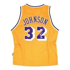Magic Johnson auto Reebok Los Angeles Lakers Gold Home Soul Swingman Jersey BAS