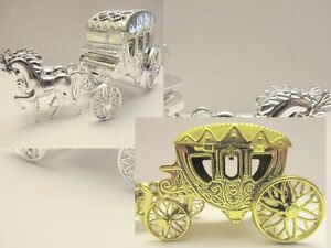 """2 OR 12 pc Horse Carriage 5"""" Display Wedding Favors Box/Party A3-Gold OR Silver"""