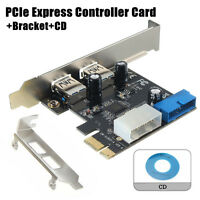 2-Port USB3.0 SATA 5Gbps 19-Pin Intenal PCIe Express Controller Card+Bracket+CD