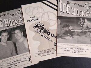 3 vintage British Ice Hockey Programs 1950's - Harringay Racers Nottingham Panth