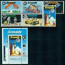 GRENADA 421-27 SG455-60,MS461 MH 1971 Moon Landing set of 6+MS Cat$7