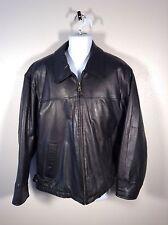Members Only Black Soft Leather City Bomber Zip Up Coat Jacket Men Sz L