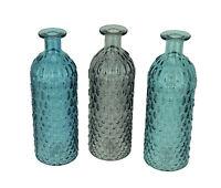 Zeckos Blue Green and Grey Decorative Textured Glass Bottles Set of 3