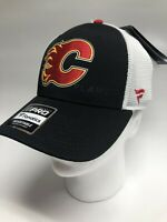 Fanatics Calgary Flames Snapback Black White Mesh Hat NHL Pro Hockey Red👍