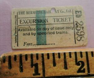 Orig 1910? Bermuda Railway Ticket Railroad Trolley Ticket