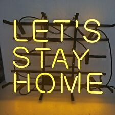 """Let's Stay Home Neon Light Sign 14""""x10"""" Wall Decor Lamp Display Man Cave Glass"""
