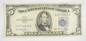 RARE - Crisp 1953 - Silver Certificate $5 Blue Seal $5 Higher Grade! *094