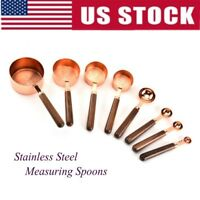 US Copper-Plated Stainless Steel Measuring Cup/Spoon With Handle Kitchen Tools