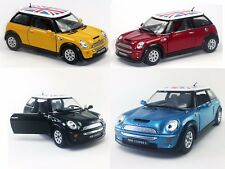"4 PC Set: New 5"" Kinsmart Mini Cooper S British Flag Diecast Model Toy 1:28"
