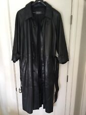 Bally Mens Black Leather Trench Coat Size 38
