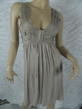 WITCHERY mushroom beige utility 100% silk empire waist dress size L BNWT