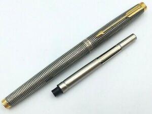 Y5599  PARKER 75 Fountain Pen* Sterling Silver 925 14K Gold 585   w/Converter F