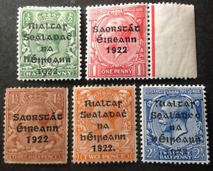 Ireland 1922 5 x Stamps mint hinged
