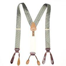 Trafalgar Mens Silk Braces Suspenders Sage Green Blue Lizard Print Leather Brass