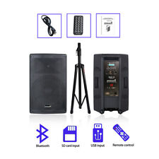"STARAUDIO 15"" 4000W PA DJ Powered Active Speaker System W/Bluetooth PA DJ Stand"