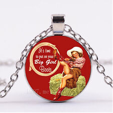 Photo Cabochon Glass necklace Silver Fashion pendant(Put On Your Big Boots