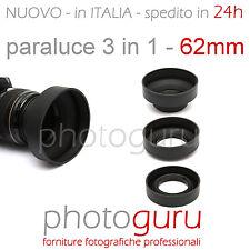 Paraluce 3 in 1 62mm universale gomma compatibile Canon Nikon Sony Tamron 62 m