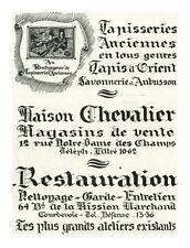 Publicité ancienne tapisseries anciennes maison Chevalier 1930 issue de magazine