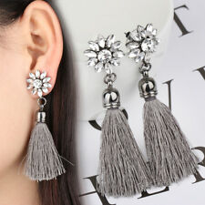 Women Fashion Flower Tassel Earring Long Bohemian Drop Earrings Vintage Jewelry