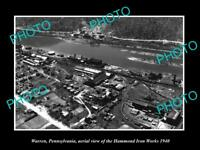 OLD LARGE HISTORIC PHOTO OF WARREN PENNSYLVANIA, AERIAL VIEW IRON WORKS c1940