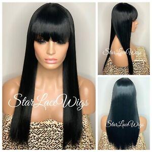 Long Straight Full Wig Chinese Bangs Jet Black #1 Heat Safe Hair Wig Glueless