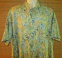 Tori Richard 2XL Mens Short Sleeve 100% Cotton Blue Floral Hawaiian Shirt