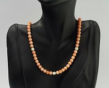 Vintage Pink Salmon Coral 6 mm Bead Necklace 14K Yellow Gold Spring Ring Clasp