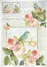 Papel De Arroz Para Decoupage Scrapbook Craft Pájaros Y Rosas