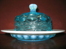 aqua blue Opalescent Glass eyewinker Pattern domed covered Butter dish round lid