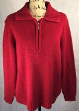 Women's Carolyn Taylor Woman Deep Red Zip Front Collared Sweater Size 2X EUC