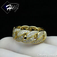 MEN 925 STERLING SILVER FULL LAB DIAMOND 10MM GOLD CUBAN CURB LINK RING*GR122