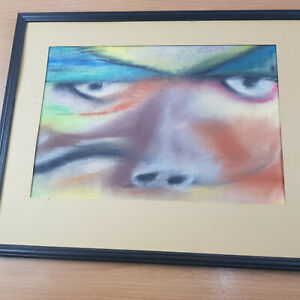 Black Framed Chalk Face Drawing Rainbow Colour Unknown Artist