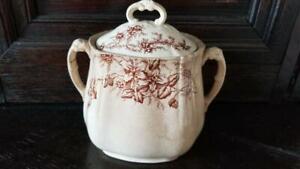 Antique Circa 1891 Colonial Pottery Brown White Transferware Clifford Sugar Bowl